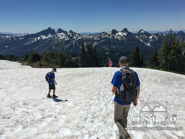 Playing in the snow in Mount Rainier National Park