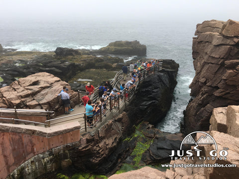 Spectators viewing Thunder Hole in Acadia National Park