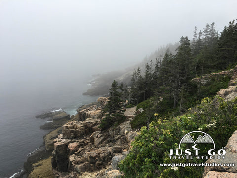 A typical view in the fog in Acadia National Park