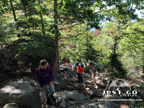 Hiking up the Bubbles Trail in Acadia National Park