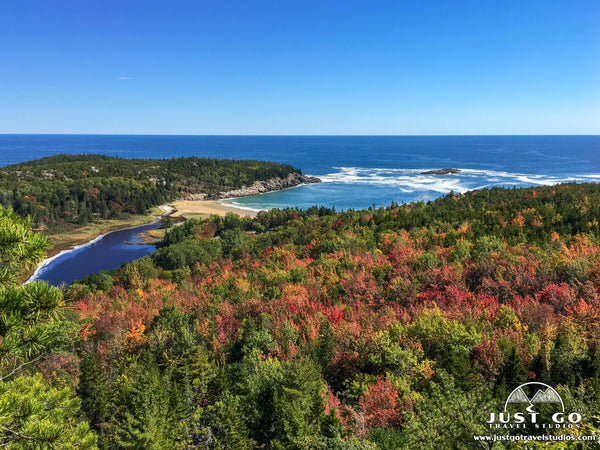 A view of Sand Beach from the Beehive Trail in Acadia National Park