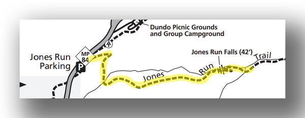Jones Run Falls map in Shenandoah National Park