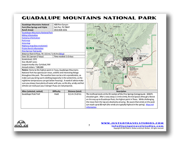 Guadalupe Mountains National Park Itinerary