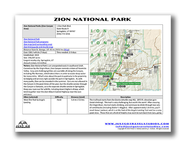 sample zion national park itinerary