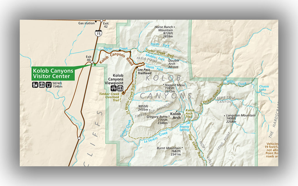 Kolob Canyon map in Zion National Park