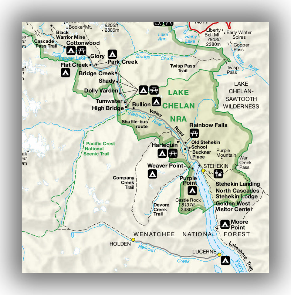 Lake Chelan Area Map, North Cascades National Park