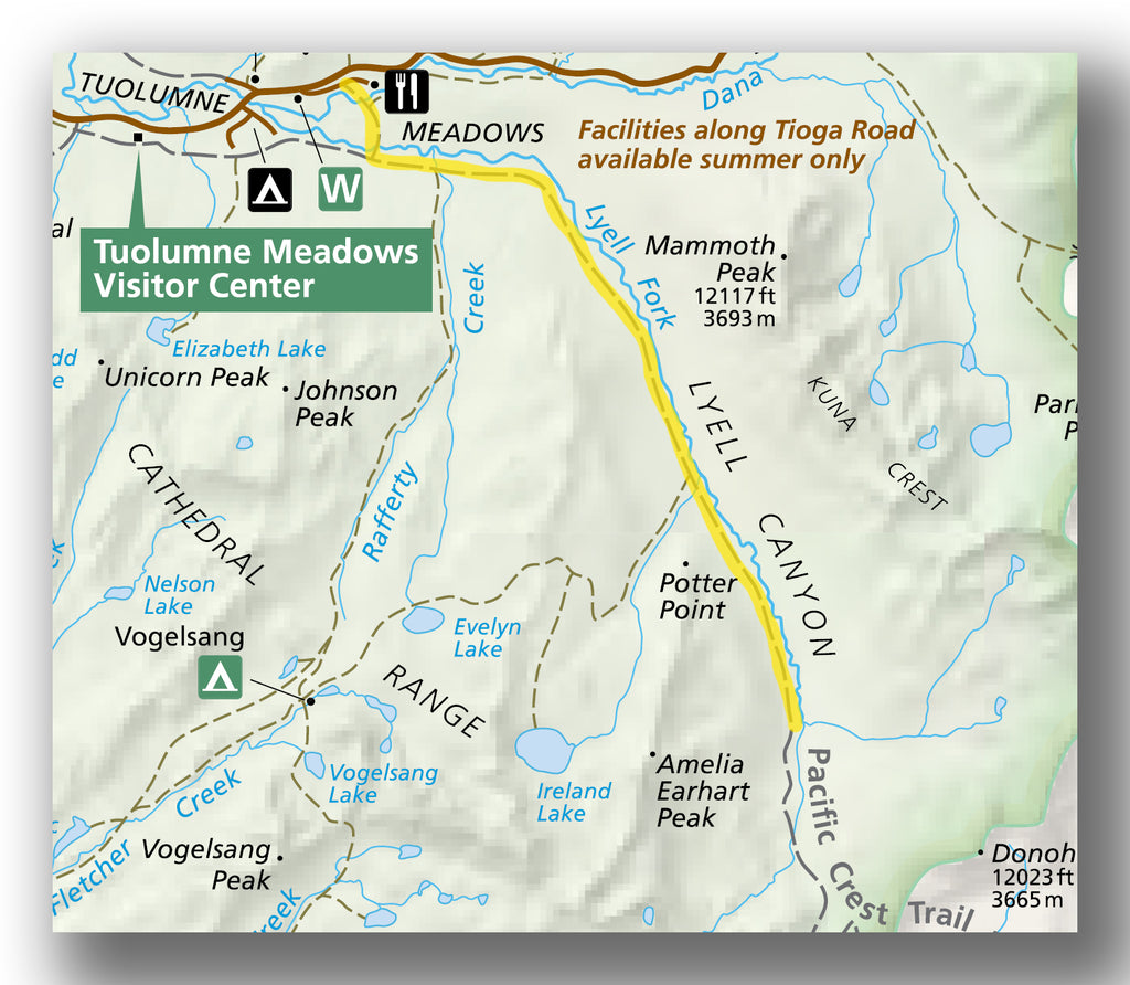 Lyell Canyon Trail Map in Yosemite National Park
