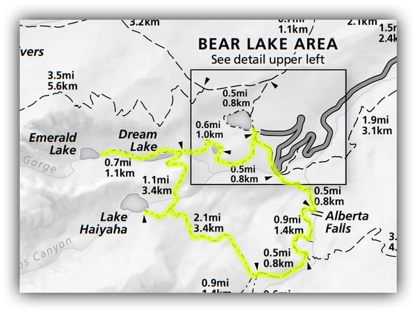 Emerald Lake, Lake Haiyaha and Alberta Falls Loop Map