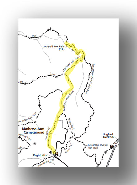 Overall Run Falls Map in Shenandoah National Park