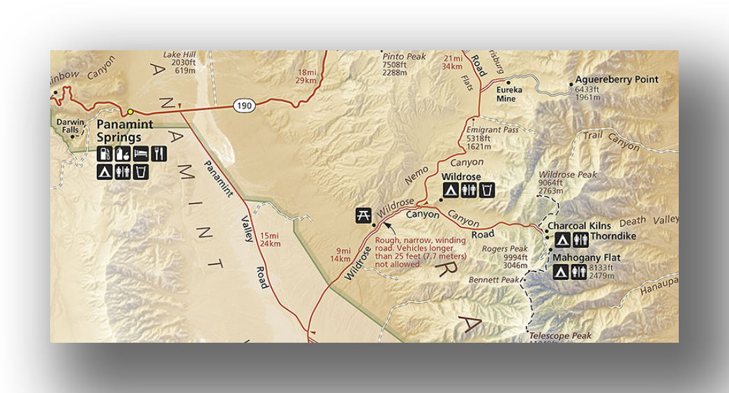 Panamint Springs and Wildrose campground maps