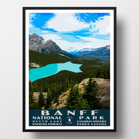 Custom National Park Posters Peyto Lake