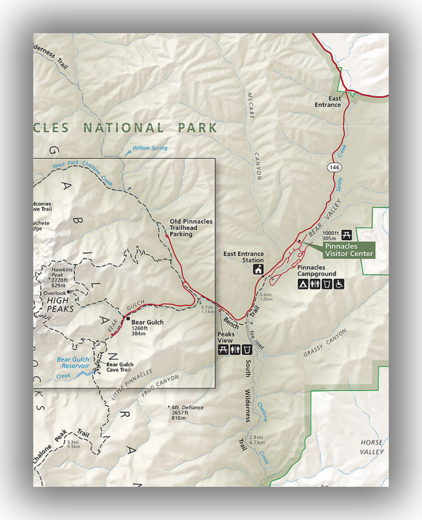 Map of the Pinnacles National Park east entrance, courtesy of the National Park Service