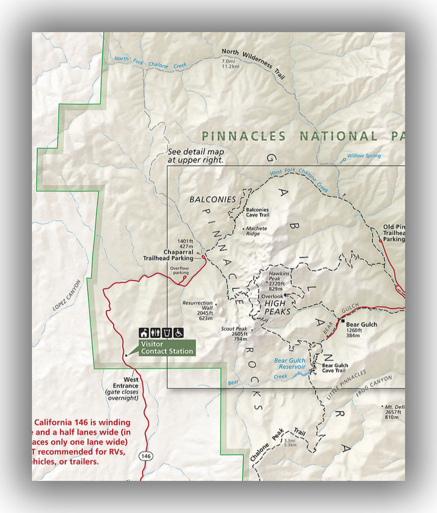 Pinnacles National Park west entrance map