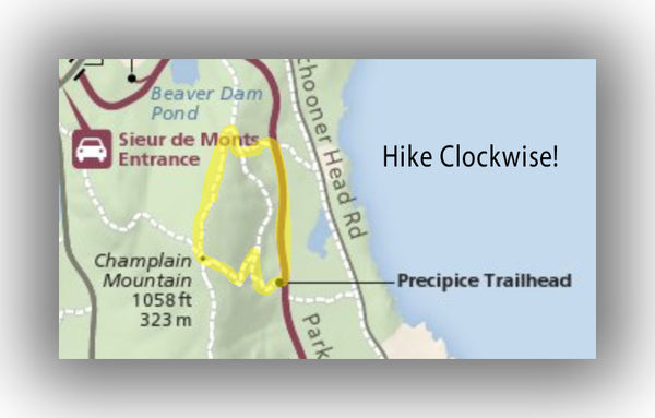 Precipice Trail Map in Acadia National Park