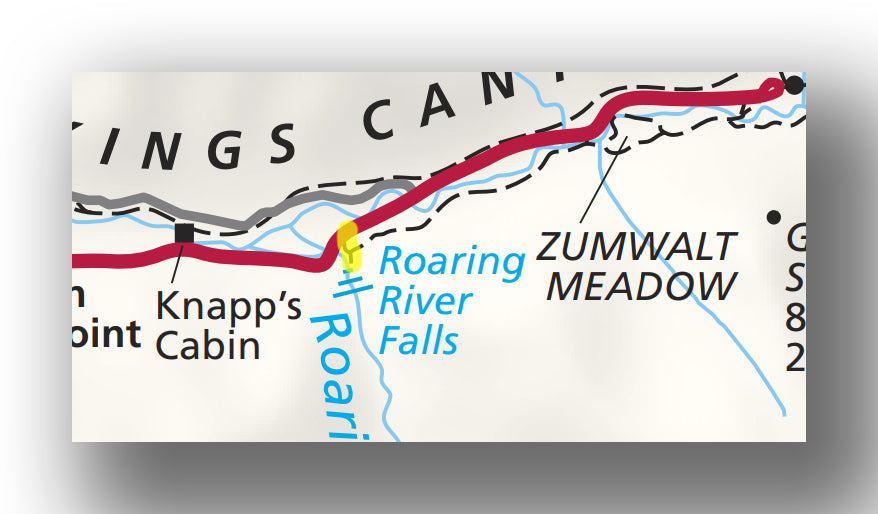 Roaring River Falls Trail map in Kings Canyon National Park
