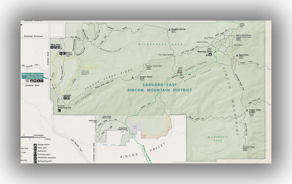 Saguaro National Park (East) Map, courtesy of the National Park Service