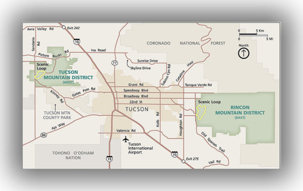 Saguaro National Park Map, courtesy of the National Park Service