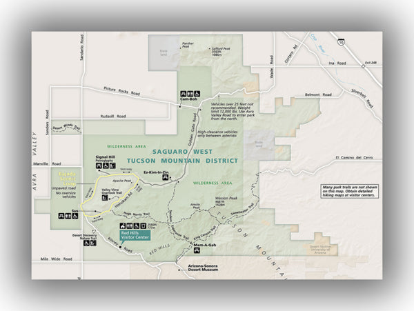 Saguaro National Park (West) Map, courtesy of the National Park Service