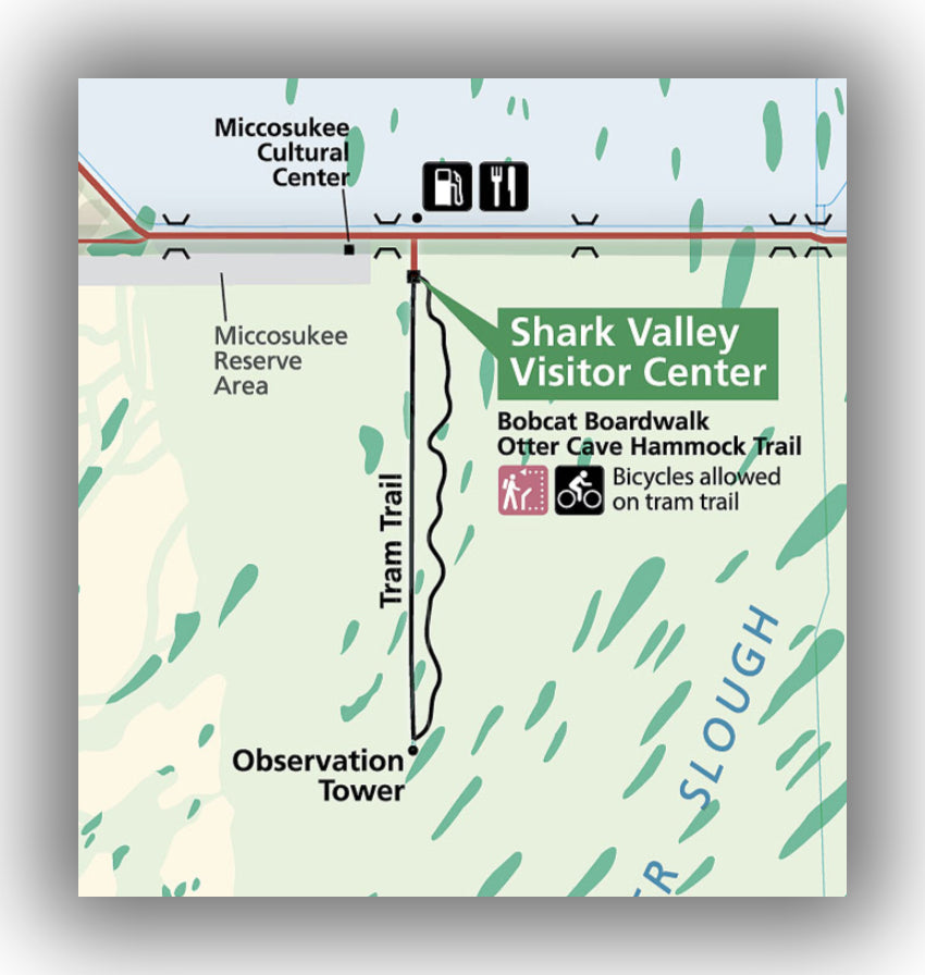 Shark Valley map in Everglades National Park