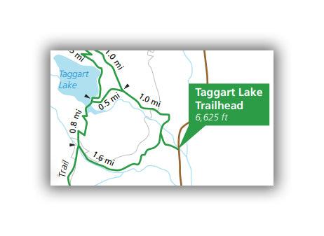 Taggart Lake Trail Map for Grand Teton National Park