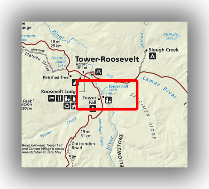 Tower falls trail map in Yellowstone national park