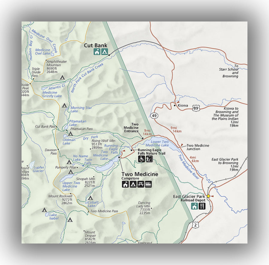 Two medicine area map in Glacier National Park