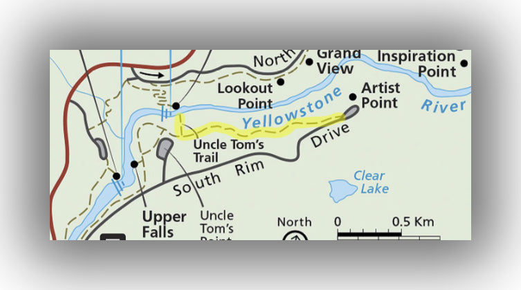 Hiking map for Uncle Tom's Trail in Yellowstone National Park