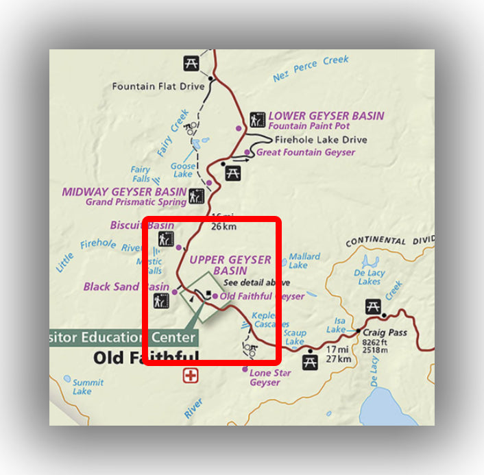 Upper Geyser Basin trail map in Yellowstone national park