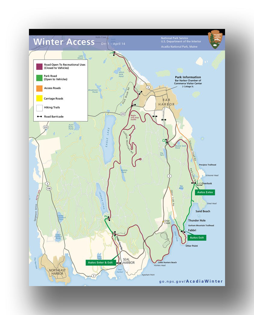 Winter access in Acadia National Park