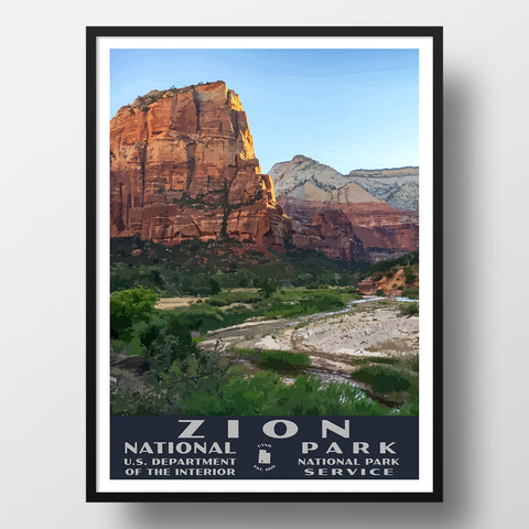 Zion National Park poster WPA style