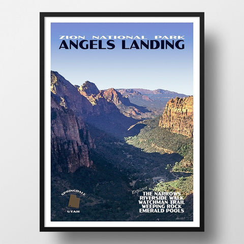 Zion National Park Poster-Angels Landing
