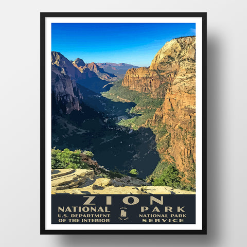 Zion National Park Poster of Angels Landing (WPA Style)