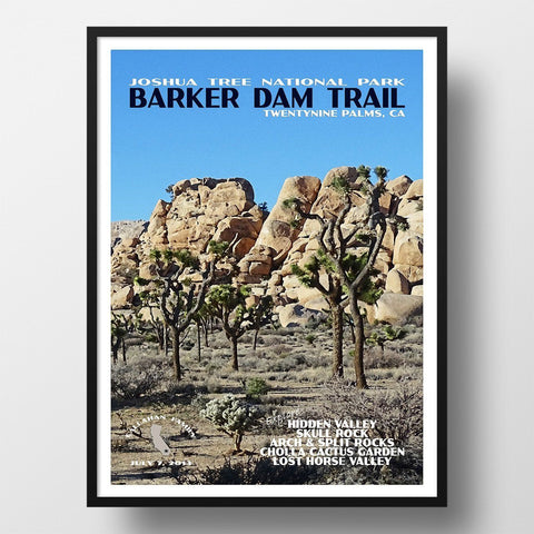 Joshua Tree National Park Poster-Barker Dam Trail (Personalized)