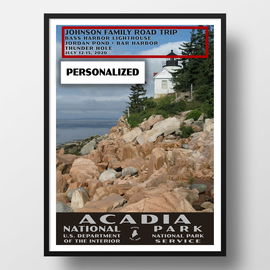 Acadia National Park Poster-WPA (Bass Harbor Lighthouse) (Personalized)