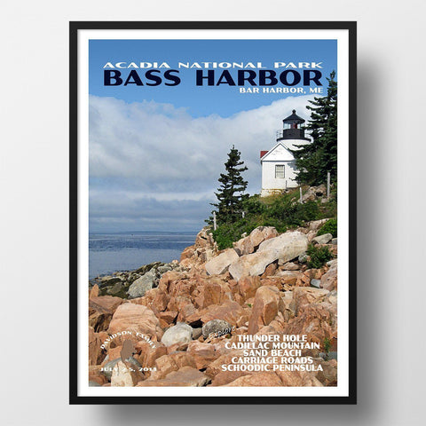 Acadia National Park Poster-Bass Harbor Lighthouse (Personalized)