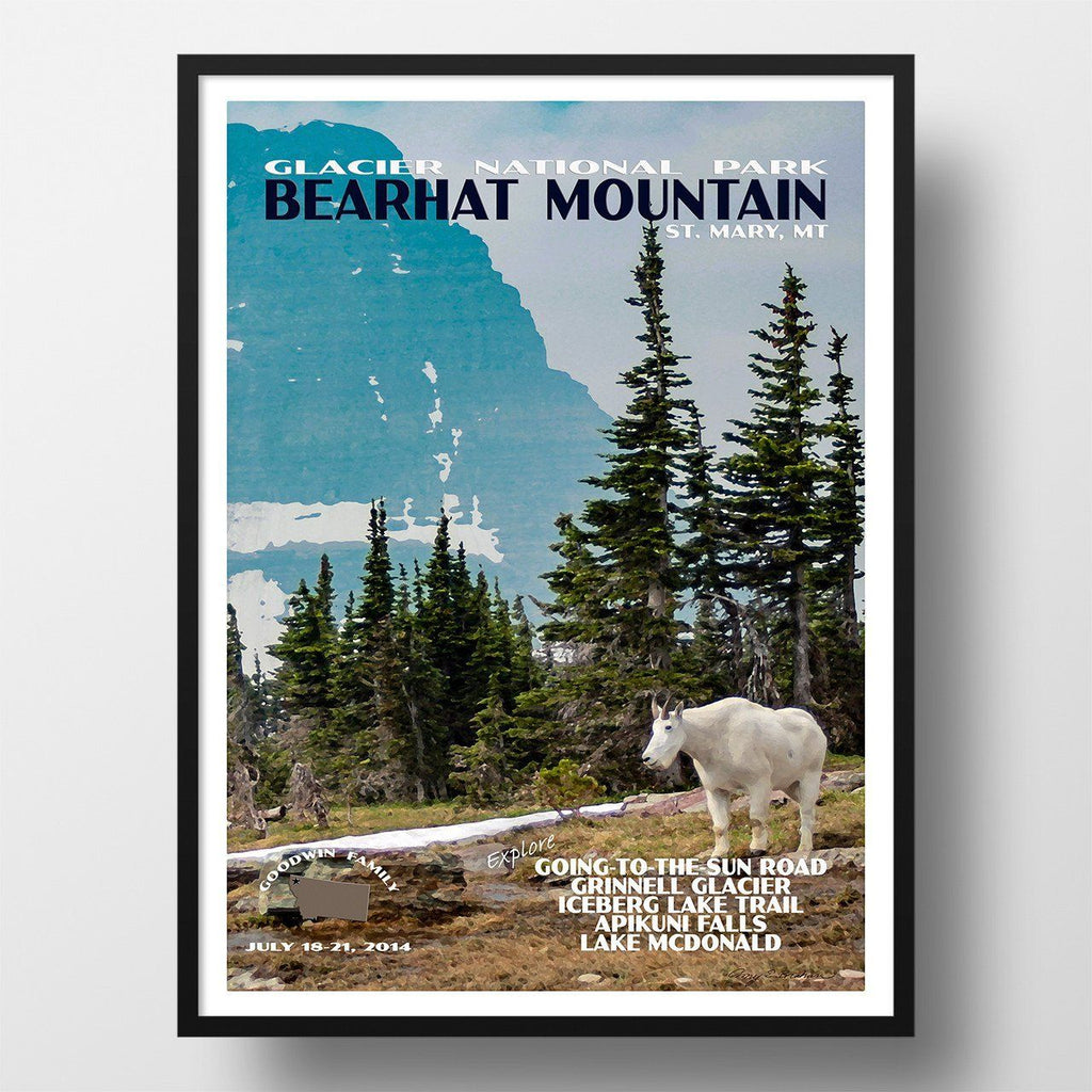 Glacier National Park Poster-Bearhat Mountain