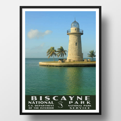 Biscayne National Park Poster of the Biscayne Lighthouse (WPA Style)