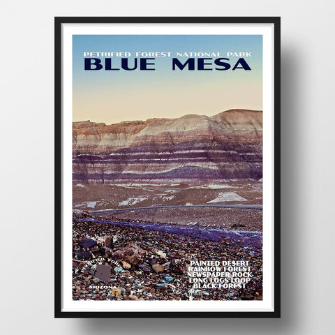 Petrified Forest National Park Poster-Blue Mesa