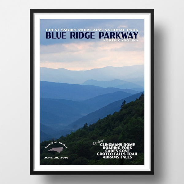 Great Smoky Mountains National Park Poster-Blue Ridge Parkway (Personalized)