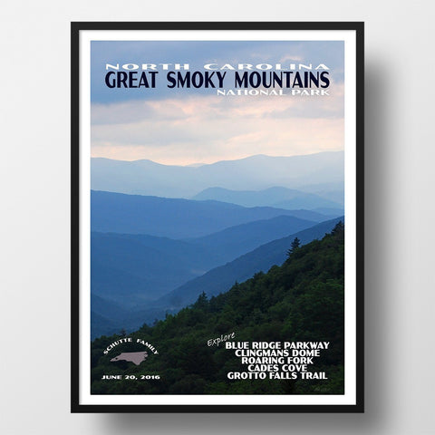 Great Smoky Mountains National Park Poster-Great Smoky Mountains National Park (Personalized)