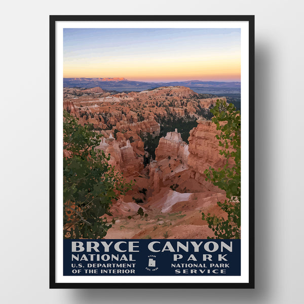 Bryce Canyon National Park poster wpa style sunset point