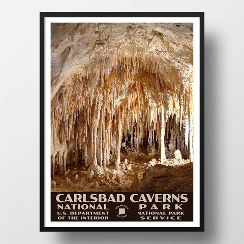 Carlsbad Caverns National Park Poster, WPA Style