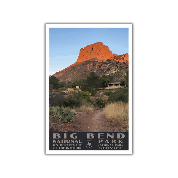 big bend national park poster wpa style casa grande