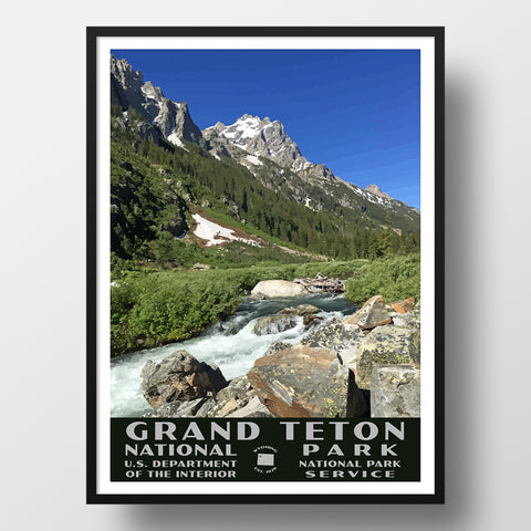 Grand Teton National Park Poster (WPA), Cascade Canyon
