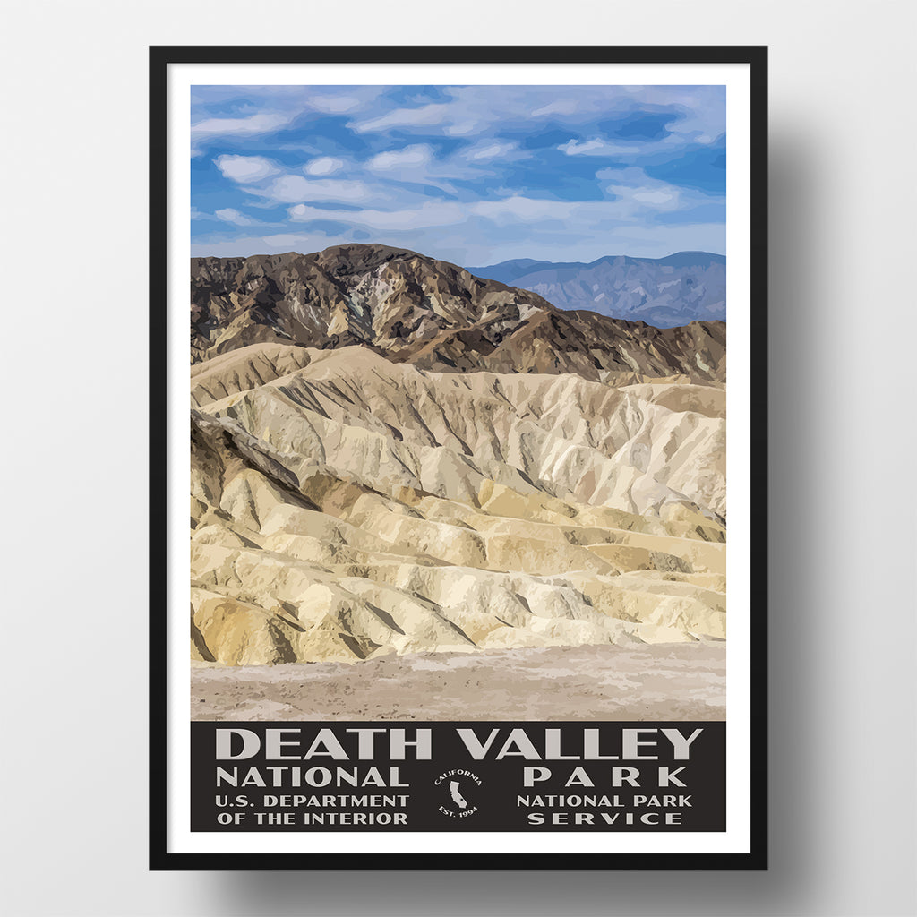 Death Valley National Park Poster Wpa Zabrsikie Point Just Go Travel Studios