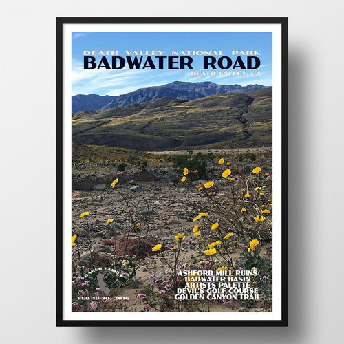 Death Valley National Park Poster-Badwater Road Wildflowers in Hills (Personalized)