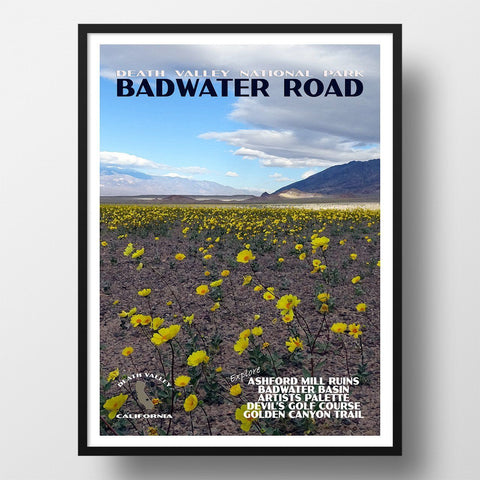 Death Valley National Park Poster-Badwater Road