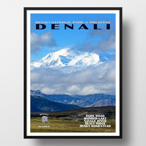 Denali National Park Poster-Denali in the Clouds