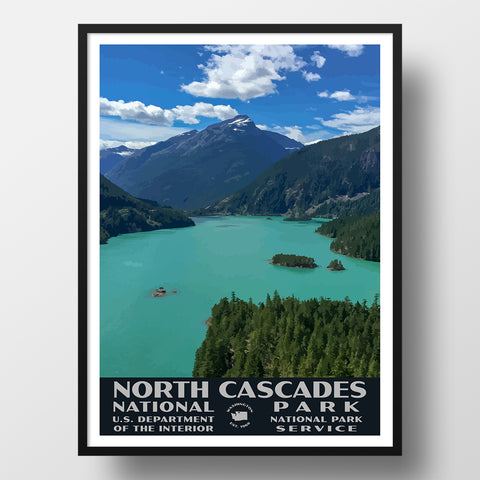 North Cascades National Park Poster-WPA (Diablo Lake)