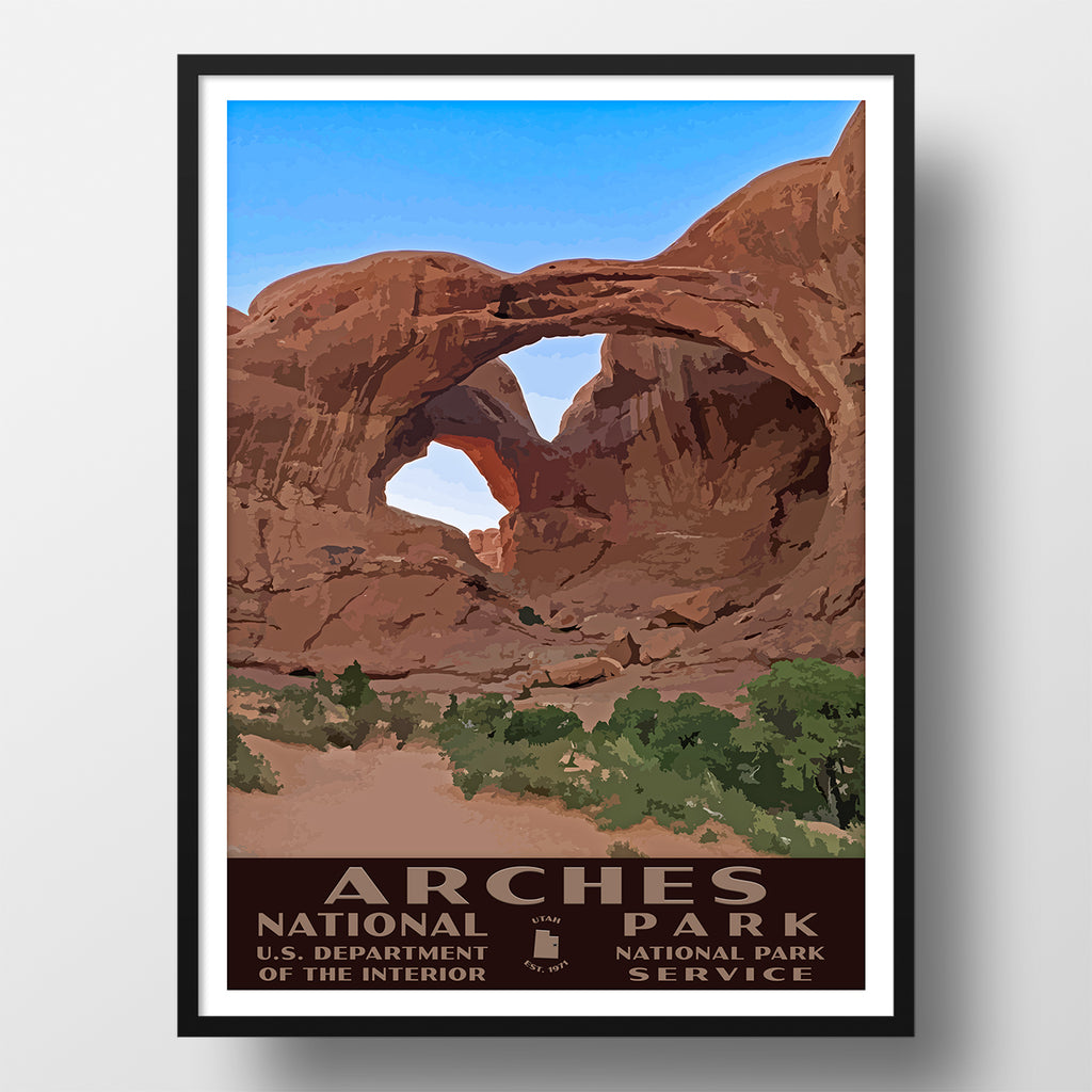 Arches National Park Poster WPA Double Arch